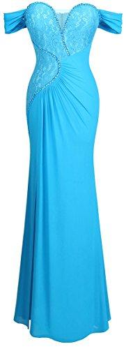 Angel-fashions Mujer Plisado Vestido de Noche Cordon Fuera del Hombro Cielo Azul