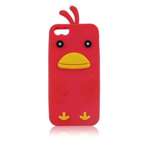 3D Küken Gummihülle für Apple iPhone SE 5 5S Rot, Gummi, Silikon Hülle, Silikonhüle, Handyschale, Handyhülle, Schutz, Schutzhülle, Huhn