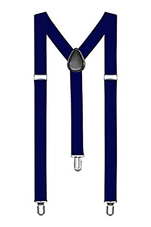 Suspenders One Size Fully Adjustable Y Shaped with Strong Clips Unisex - Navy