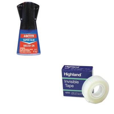 KITLOC1365734MMM6200341296 - Value Kit - Loctite Super Glue Brush On (LOC1365734) and Highland Invisible Permanent Mending Tape (MMM6200341296) by Loctite