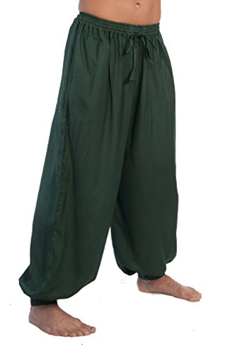 Sca Costumes (Dress Like A Pirate Ren Fair LARP Pants Elastic/Drawstring Waist Button Cuffs (L/XL, Dark Green))