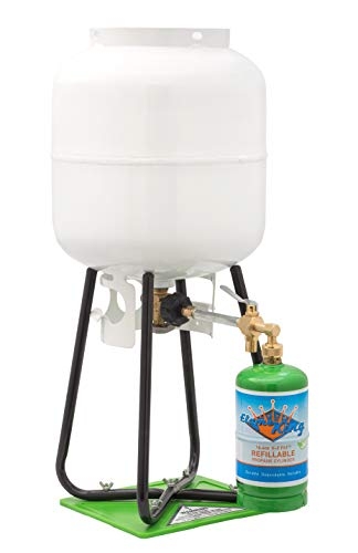 Flame King Refillable 1 LB Empty Propane Cylinder Tank - with Refill Kit and CGA600 Connection - Reusable - Safe and Legal Refill Option - DOT Compliant - 16.4 ()
