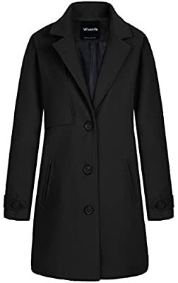 Wantdo Women's Single Breasted Solid Color Classic Pea Coat