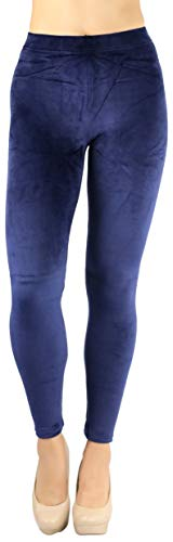 ToBeInStyle Women's Luxuriant Velour Leggings - Navy - ()