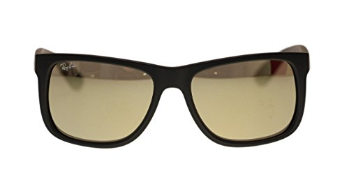 Ray Ban Justin Mens Sunglasses RB4165 622/5A Rubber Black Mirror Brown Gold Lens - Ray Justin White Ban