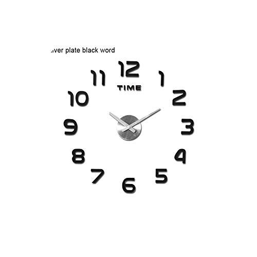 Chllrg DIY 12v Digital Large Wall Clock Home Decoration Mirror Wall Clock -