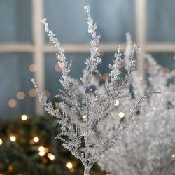 Factory Direct Craft Package of 12 - Artificial Frozen Icy Pine Christmas Holiday Floral Stems Christmas Floral