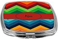 Rikki Knight Name on Fall Colors Chunky Chevron Design Compact Mirror, Kim, 17 Ounce