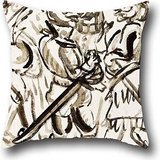 artistdecor Oil Painting Josà Clemente Orozco - Estado Mayor De Bufones Throw Pillow Covers,Best for Kitchen,Dinning Room,gf,boy Friend,Adults,Sofa 16 X 16 Inches / 40 by 40 cm(Both Sides)