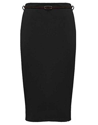 Womens Belted Plain Pencil Skirts Long Bodycon Stretch Office Skirt (4, Black)