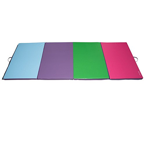 PU Leather Folding Exercise Gym Yoga Mat 4' x 10' x 2'' Tumbling Pad Stretching Fitness With Ebook by MRT SUPPLY