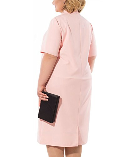 Shirt with Long Dress Women's Plus Casual Hoody T Pink COCOEPPS Size Pockets Light AzYHxwZx