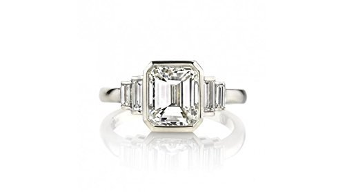 Bezel Set Certified Emerald Cut and Baguette Diamond Ring - 2.23 TCW Emerald Vvs2 Ring