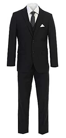 Elegante de hombre botón de dos negro traje de tres piezas ...