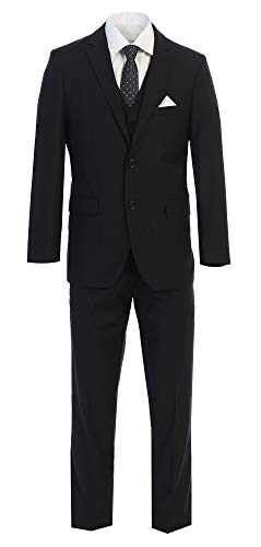 King Formal Wear Elegant Men's Black Two Button Three Piece Suit (40 Short)
