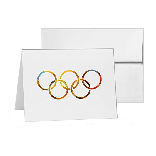 (Olympic Rings Games Sign Rings Olympic, Blank Card Invitation Pack, 15 cards at 4x6, with White Envelopes, Item)