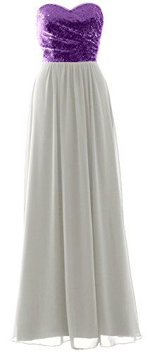 Strapless Dress Bridesmaid Sequin Ivory Gown Party Elegant Formal Long MACloth Purple Chiffon 5w4TqI