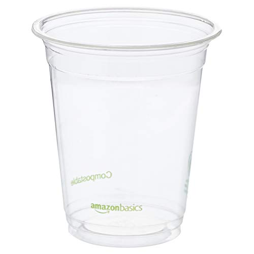 Pla Cold Cups - AmazonBasics 12 oz. Compostable PLA Cold Cup, Clear, 1,000-Count