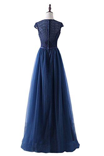 Lang Ballkleider Abendkleider Ivydressing Dunkelblau Elegant Promkleid Spitze Damen Tuell q1RRawZHx