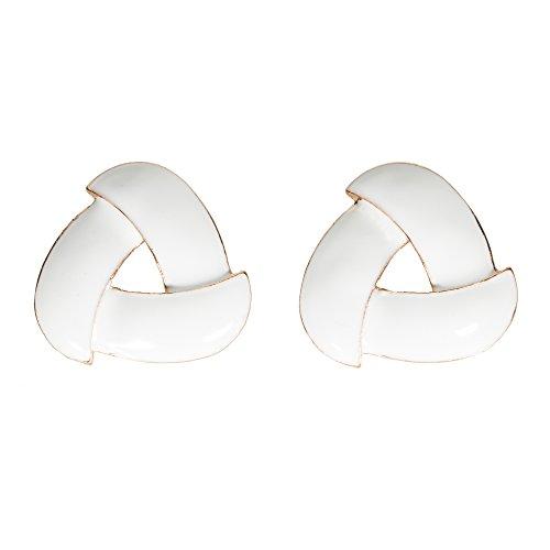 Stylish White Goldtone Earrings Enamel Intertwining Triangle Jewelry (White) (White Gold Tone Enamel Ring)