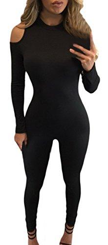 EOZY Combinaison Sport Rompers Jumpsuit Une Pièce Noir Femme Tops Pantalon