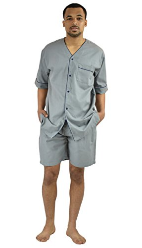 (Men's Woven S/S Pajama Set with Shorts (Large, Grey))