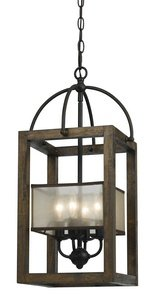 /4 Chandelier with Clear Seeded Glass Shades, Dark Bronze Finish (Cal Lighting Mission Floor Lamp)