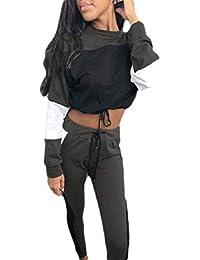 Joe Wenko-CA Women 2 Pcs Sport Top and Pants Color Block Crop Sweatsuits