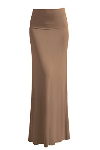 ViV Collection Women's Rayon Modal Solid Maxi Skirt (Small, Mocha Tan) (Tan Skirt Stretch)