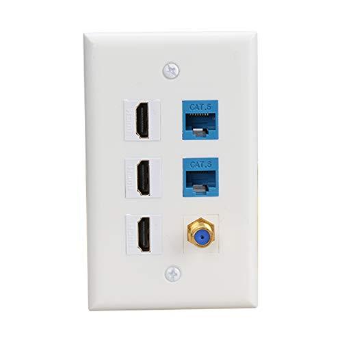 (3 HDMI Keystone Wall Plate,PHIZLI Cat 6 Keystone Coax Cable TV F Type Wall Plate Female-Female Faceplate )