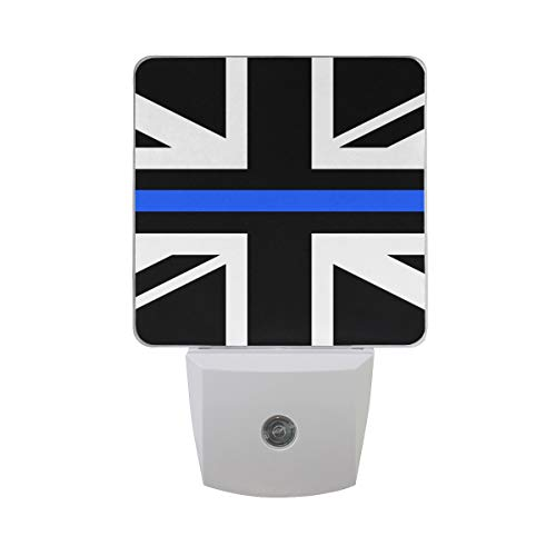 (2 Pack Plug-in LED Night Light Thin Blue Line UK Flag Lamp with Dusk to Dawn Sensor for Hallway)