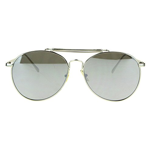 Trendy Flat Panel Color Mirror Lens Metal Frame Aviator Sunglasses Silver (Silver Flat Panel Frame)