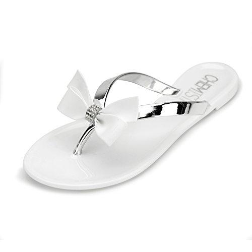 Chemistry T501 Women's Shoes Flat Flip Flops Slip on Sandals (8 B(M) US, White)