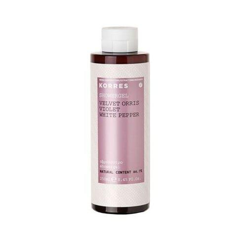 3 X Korres Showergel Velvet Orris Violet White Pepper - 3 Bottles X 250ml/8.45oz each - Scented Shower Gel Korres