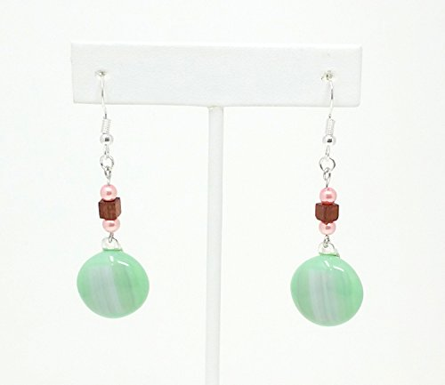 Lime Green and Pink Fused Stained Glass Earrings