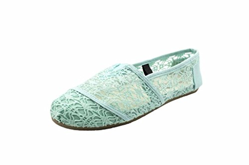 Charles Albert Women's Canvas Josie Lace Flat In Mint Lace Size: - Coral Spring Mall
