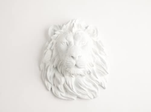 White Faux Taxidermy The Walter White Resin Lion Head Resin Hanging Wall Decor Sculpture Animal Mounts Trophy Taxidermy