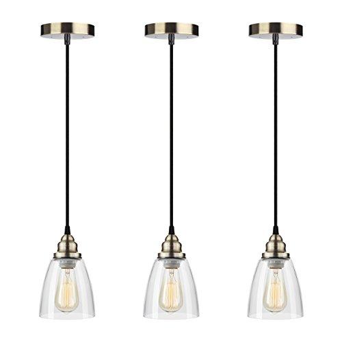 Industrial Edison Mini Glass 3-Light Pendant Hanging Lamp Fixture SHINE HAI  Modern Industrial Edison Vintage Style - Instant Pendant Light Conversion Kit: Amazon.com