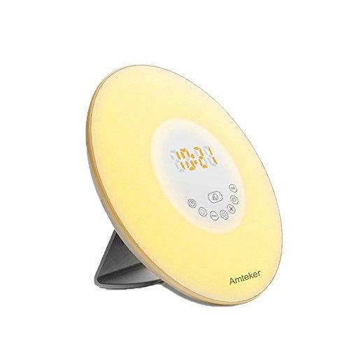 Wake-Up Light, Amteker Sunrise Simulation Alarm Clock with FM Radio Nature Sounds, 7 Colors Atmosphere Lamp,10 Brightness Bedside Lamp - Touch Control