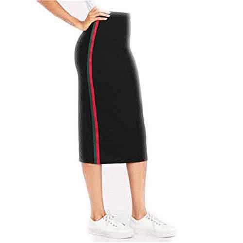 B&A Striped Tape Side Skirt Black Women Knee Length Elegant Athleisure Skirt 2018 Summer Mid Waist Casual (Racing Types Side Skirts)