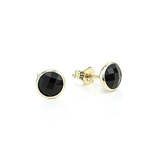 Onyx Earrings Drop 14k (14K Yellow Gold Handmade Gemstone Stud Earrings With 6 MM Round Black Onyx Gemstones)