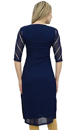 Atassi Ready-made Georgette Brodé Bleu Marine Costume Churidar Kameez Droit Bleu Et Beige