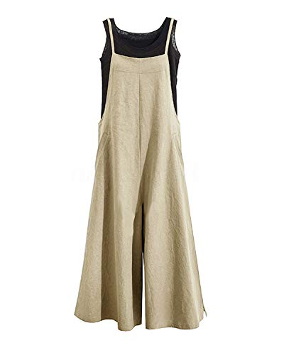 Women Casual Linen Loose Bib Pants Wide Leg Jumpsuits Rompers Overalls with Pockets