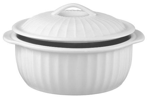 - HIC 106-Oz. Lidded Round Casserole Dish, White