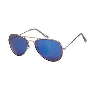 Goldfarbene & Blau Verspiegelte Pilotenbrille 8EmH0v