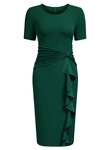 AISIZE Women's 50s Vintage Ruffle Draped Short Sleeve Bodycon Cocktail Knee Dress Dark Green