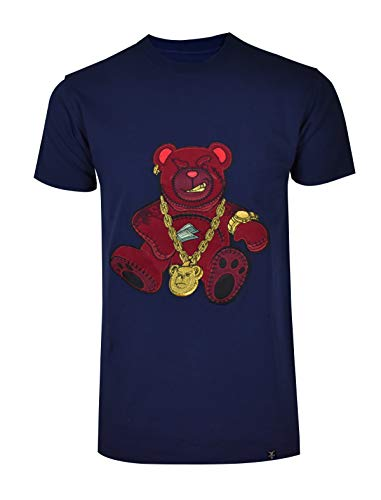SCREENSHOTBRAND-S11910 Mens Hip-Hop Ultra Premium Tee Goldchain Teddy Bear Cartoon Print T-Shirt-Navy-Medium (Best T Shirt Shops In New York City)