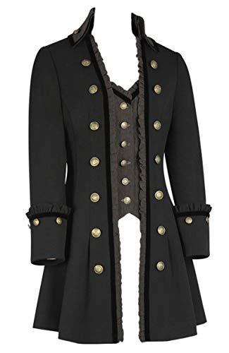 10 Black Gilet Bandito Gotico Lungo Cavalier Militare Colletto 30 Jacket Grey Alto FvF6p