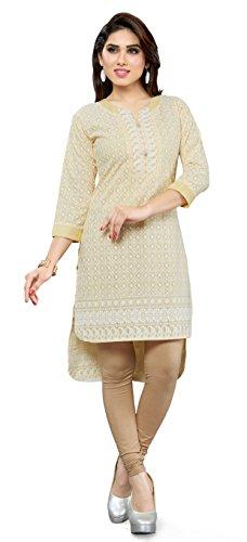 TrendyFashionMall Chikan Embroidery Work Apple Cut Cotton Kurti Yellow-XL-44