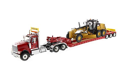 Price comparison product image International HX520 Tandem Tractor Red with XL 120 Lowboy Trailer and CAT Caterpillar 12M3 Motor Grader Set of 2 Pieces 1 / 50 Diecast Models by Diecast Masters 85598